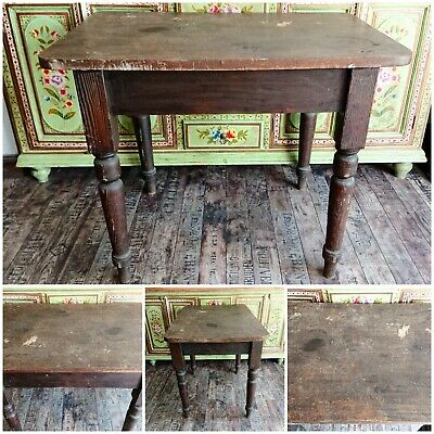 Antique Victorian Rustic Farmhouse Scrub Top Dining Table Kitchen Prep Table old