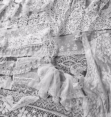 46 Exc Pcs of 19th C Lace.Trim, Collars, Flounces, Machine, Craft and hand made