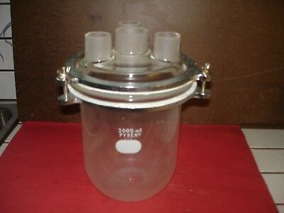 2000 ml Pyrex reaction vessel polymer kettle 4 joint lid 24/40 34/45, clamp