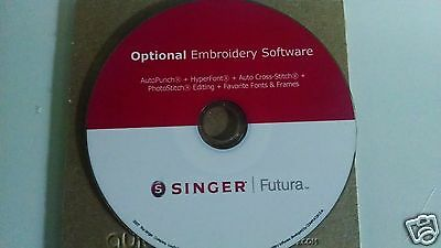 Singer Futura Optional Software Hyperfont, AutoPunch, Editing,PhotoStitch & More