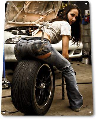 Tire Pressure Pinup Girl Sexy Hot Rod Car Garage Auto Shop Wall Decor Metal Sign