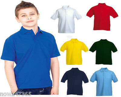 Childrens Polo Shirt  Age 2 to 13 Size 22-34 Boys Girls Kids All Colours