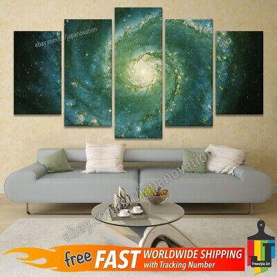 5 Piece Wall Art Canvas Home Decor Poster Spiral Space Nebula Sky Galaxy Planets