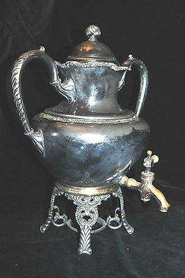 Beautiful Antique Webster and Son Triple Silverplate Hard White Metal Water Pot