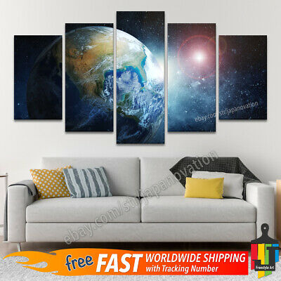 5 Pieces Wall Art Canvas Print Home Decor Poster Planet Earth Starry Sky Space