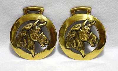 2 Vintage Brass Horse Head Harness Medallions Ornaments Wall Decorations England