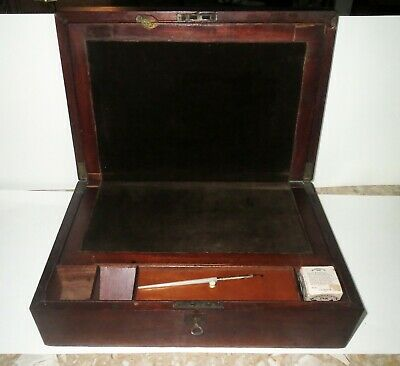 Antique Victorian MAHOGANY WRITING DOCUMENT DESK & GOLD FOUNTAIN PEN & INK WELL