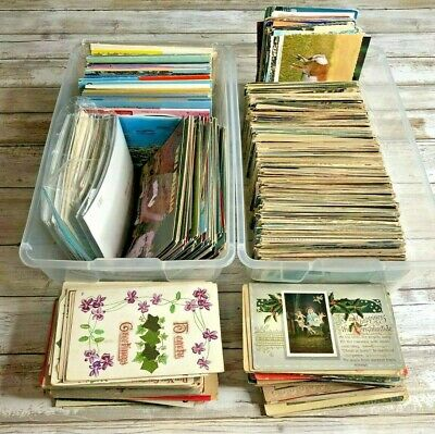 HUGE LOT OF 1,000 MIXED POSTCARDS + TRAIN PICTURES Chrome Linen Holiday USA