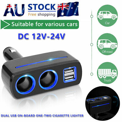 Car Charger Cigarette Lighter Double Power Adapter Socket Splitter Dual USB 2Way