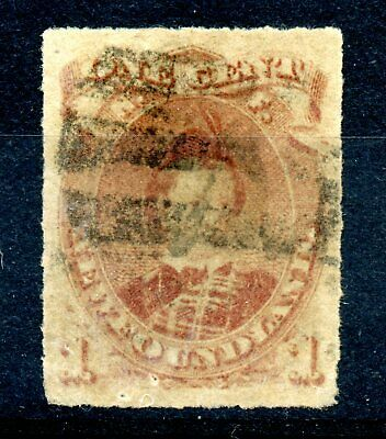 Weeda Newfoundland 37 VF used 1c brown lilac rouletted issue, pinholes CV $70