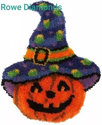 DIY Cute Halloween Witches hat Pumpkin Make your own Rug Latch Hook unique gift