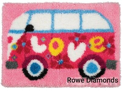 DIY Cute VW van flowers hippy 1960s Make your own Rug Latch Hook unique gift New