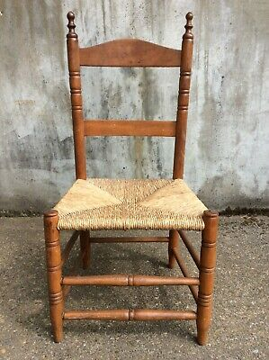 Antique Child's Ladder Back Chair with Rush Seat and Hand Turned Legs