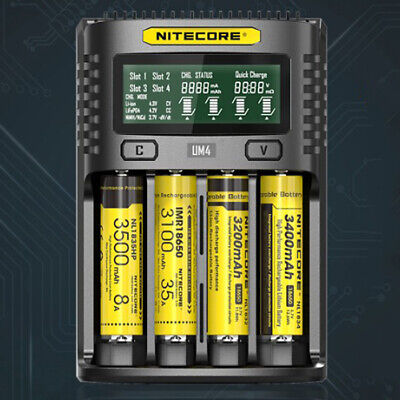 NITECORE UM4 Charger Rechargeable Intelligent USB Four-slot Battery Charger LCD