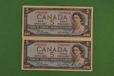 Two 1954 Bank of Canada 5 Dollar Modified Portrait Sequenced Notes US 2093993-4