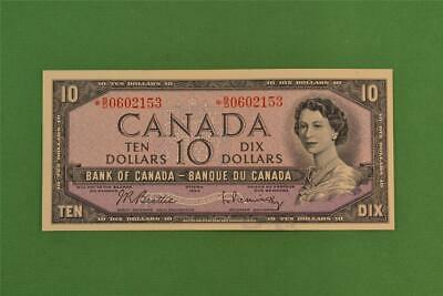 1954 Bank of Canada 10 Dollar Modified Portrait Replacement Note *BD 0602153