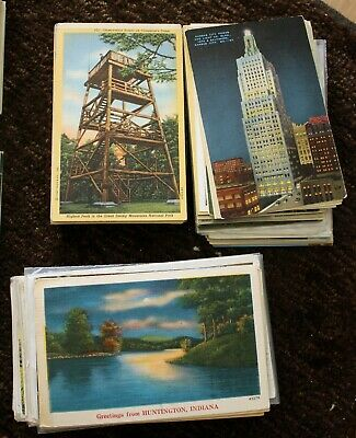 Lot of 1000 US State View Postcards 1920s-1950s Linen and White Border