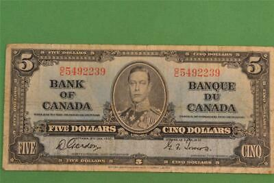 1937 Bank of Canada 5 Dollar Note Gordon Towers OC 5492239