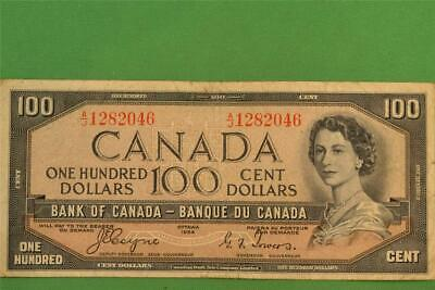 1954 Bank of Canada 100 Dollar Devils Face Note Coyne Towers AJ 1282046