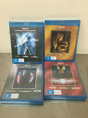 4 Marvel The Avengers Captain America & Thor 3-Movie Collection Blue Ray BOX SET