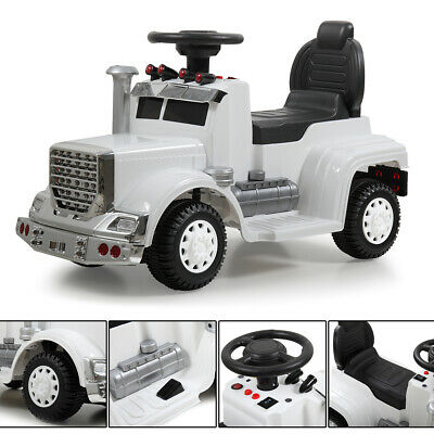 White Kids Ride On Car Electric Power Wheels  MP3 LED Light Toy