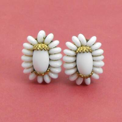 Vintage Western Germany White Milk Glass Earrings Clip On Gold Plated