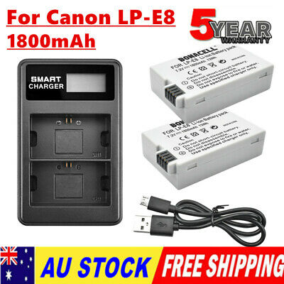 2X 1800mAh Battery / LCD Charger For Canon LP-E8 EOS Kiss X4 550D 600D 700D T3i
