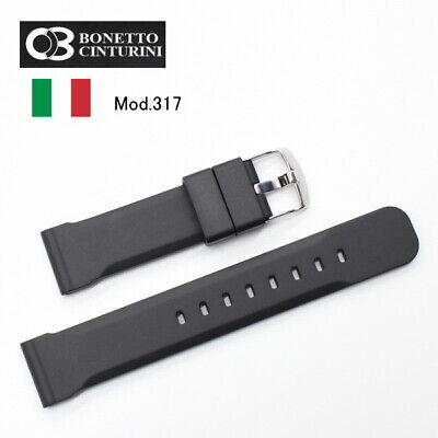 22mm Bonetto Cinturini  Rubber strap 317 BLACK made in Italy  Ship from JAPAN