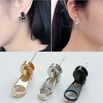 Hot 1 Pair Women's Punk Girl's Zipper Earrings Ear Studs Unisex Earrings Gift