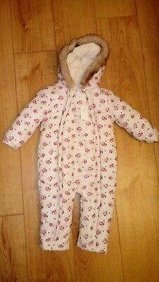 New Baby Girl F&F Cream Snowsuit With Pink Mix Floral Pattern Age 12-18 Mths
