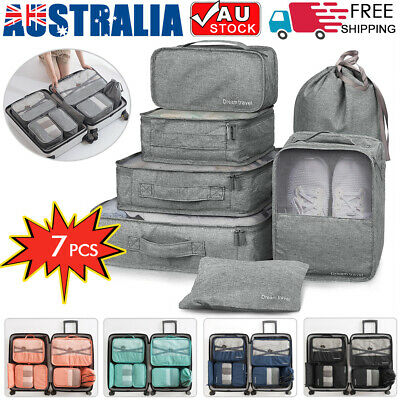 7Pcs Packing Cubes Luggage Organiser Travel Pouch Storage Bags Clothes Suitcase