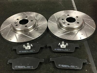 Ford Focus St St-2 Mk3 Brake Discs Cross Drilled Grooved Mintex Brake Pad Front