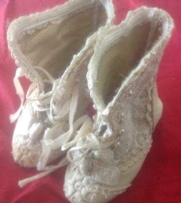 "Antique original BRU Jne Paris  4"" Doll shoes, lace, kid, marked leather soles"
