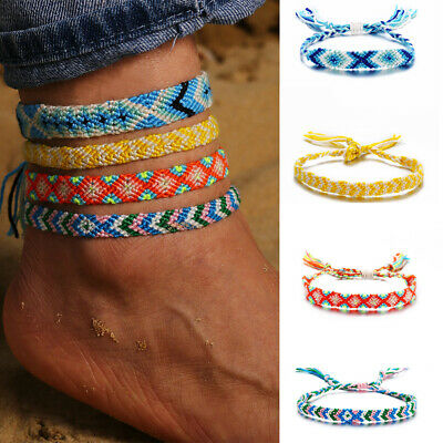 Hand-knitted Anklet Rope Summer Beach Bohemian Bracelet Ankle Foot Jewelry Gifts