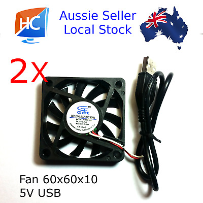 2X Brushless Cooling Case Fan 60mm x 60mm x 10mm 5V USB - *** PRIORITY POST ***