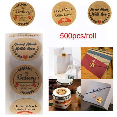 Party Supplies Cookie Bags Package Label Tag Handmade with Love Kraft Stickers