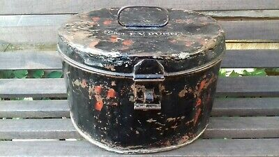 Vintage Military Metal Hat Box. Captain F V Dunn. Ideal shop retail display.