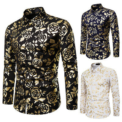 Luxury Men's Slim Fit Shirt Long Sleeve Stylish Formal Casual Tops T-shirt M-2XL
