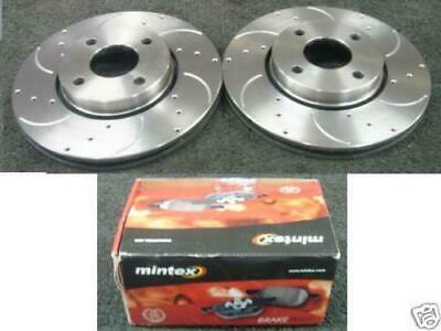 Ford Mondeo St200 St24 Drilled Grooved Brake Disc Discs & Mintex Pads Pad Set