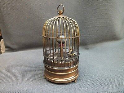 Rare brass bird cage Mechanical Table Clock
