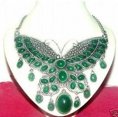 Chinese Handwork Tibet silver green jade butterfly necklace