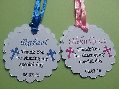 20x Personalised Christening Baptism Favour Gift Tags First Communion Thank You