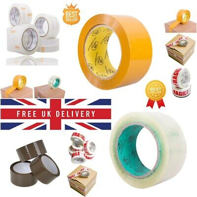 Clear Strong Parcel Packing Tape Carton Sealing 48Mm X 91M Sellotape Packaging