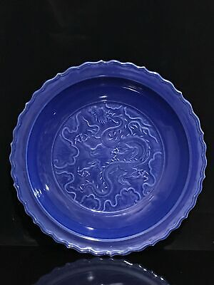 "18"" Yuan Chinese antique Porcelain blue glaze hand carved dragon plate"