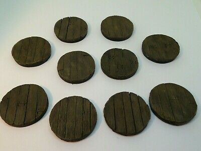 10 x 32mm Wooden floor resin bases for warhammer ,roleplaying, minatures