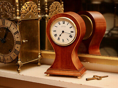 A Smart antique c19th Waisted Balloon Clock GWO & Key, Harrison, Darlington