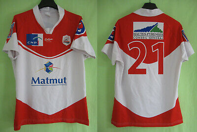 Maillot Rugby Tarbes Pyrenees Cotton Traders porté #21 Rouge et blanc - M