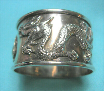 Antique Chinese Sterling Silver SIGNED Napkin Ring Fine Chased Double Dragon