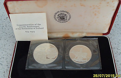 500 & 1000 silver kronur-110th Annivers of the Settlement of Iceland-sealed-1974