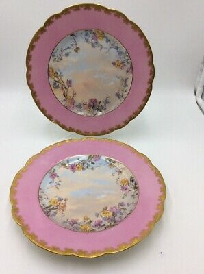 Antique Limoges Hand Painted Plates Pink Gold Florals Sky Clouds
